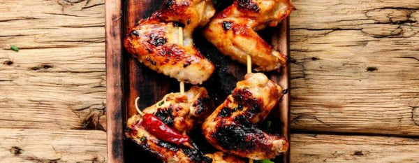 SKEWERED GRILLED CHICKEN WINGS