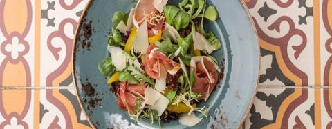 Peach and Prosciutto Salad with Shaved Parmesan and Spicy Fig Spread