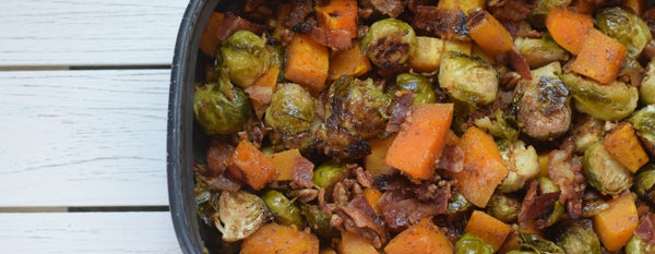 SAIGON ROASTED BUTTERNUT SQUASH WITH BACON, BRUSSEL SPROUTS AND PECANS