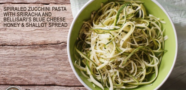 Spiraled Zucchini Pasta with Sriracha and Bellisari's Blue Cheese, Honey & Shallot Spread