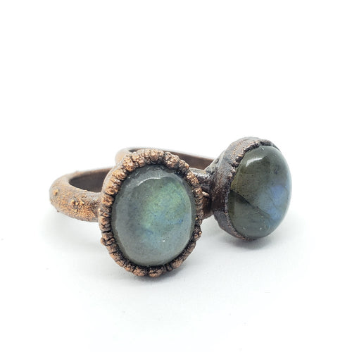 Electroformed Copper Labradorite Rings