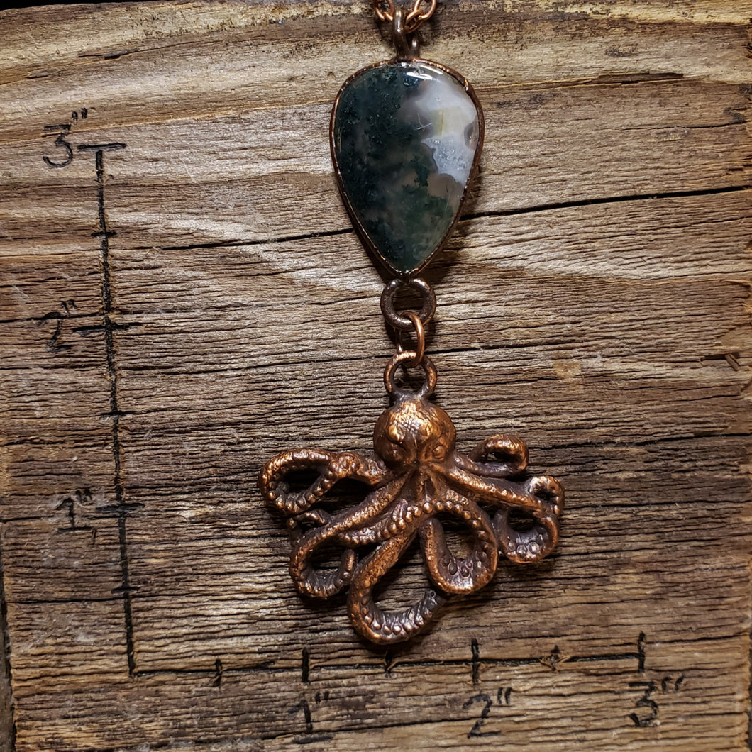 Moss Agate and Octopus Pendant 4