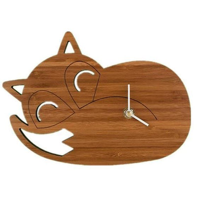 Horloge murale animal bois enfant chat