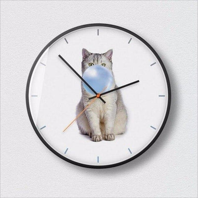 Horloge chat bulle de chewing gum