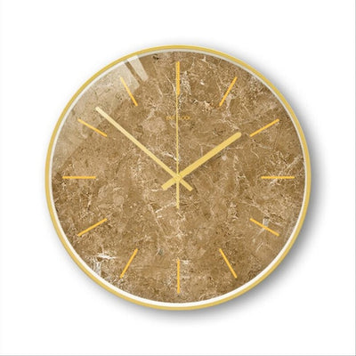 Horloge couleur sable à accrocher marbre motif