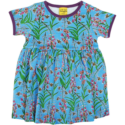 Duns Blue Willowherb Short Sleeve Twirly Dress