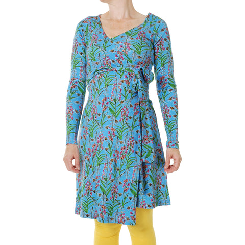 Duns Blue Willowherb Long Sleeve Wrap Dress
