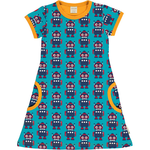 Maxomorra Classics Robots Short Sleeve Dress
