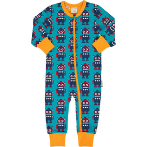 Maxomorra Classics Robots Long Sleeve Romper Suit