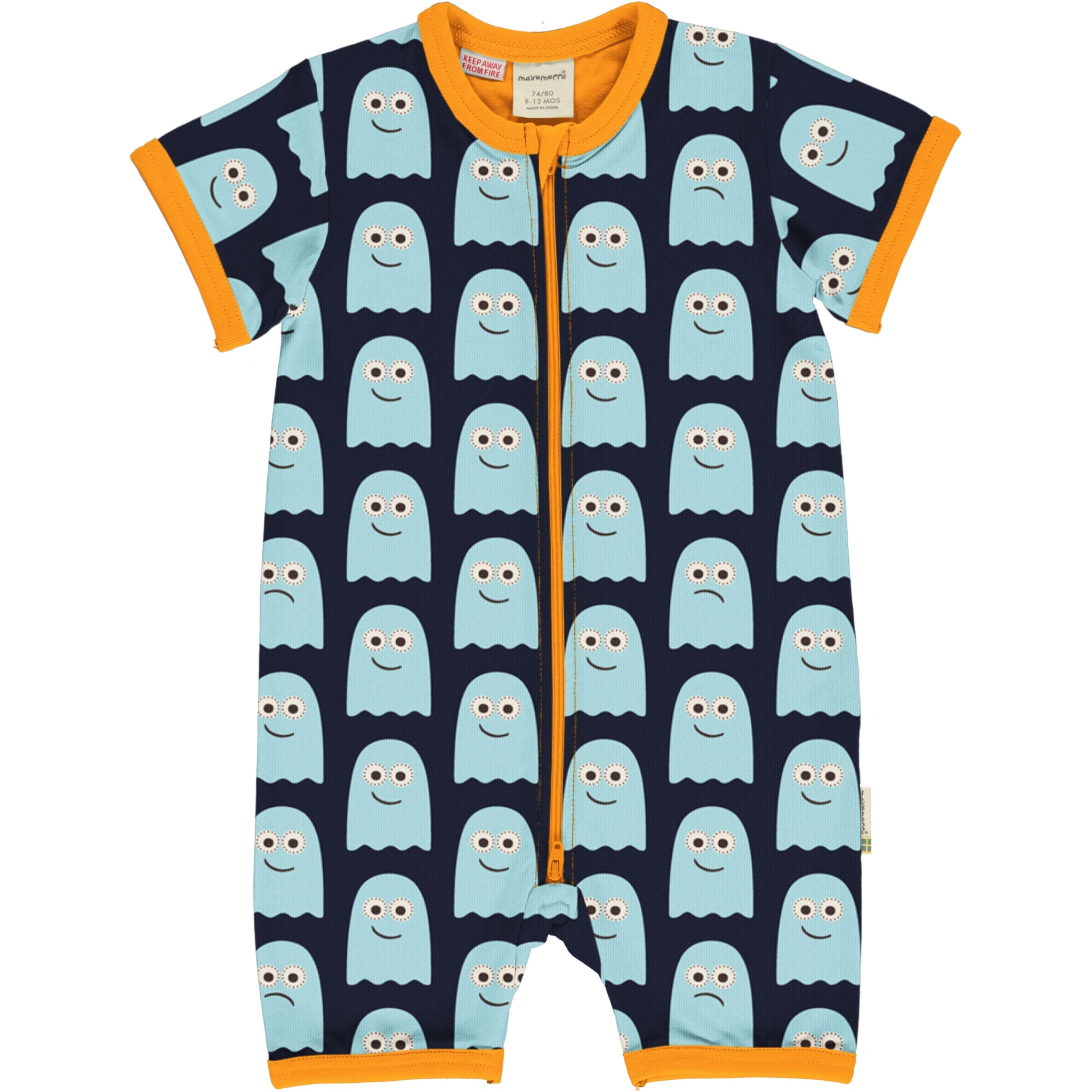 Maxomorra Classics Ghosts Short Romper Suit