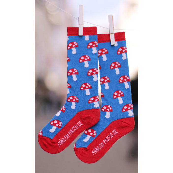 Fraulein Prusselise Blue Mushroom Socks (kids)