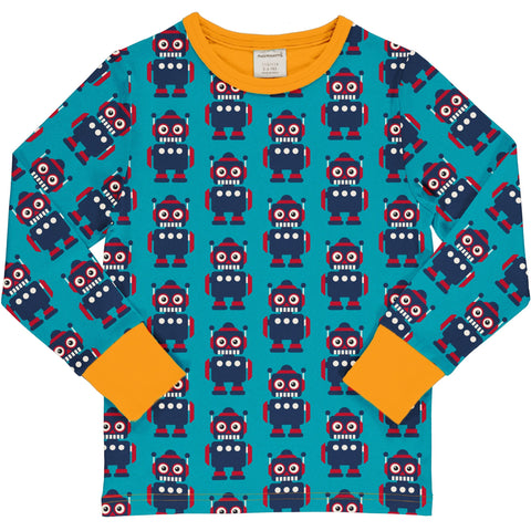 Maxomorra Classics Robots Long Sleeve T Shirt