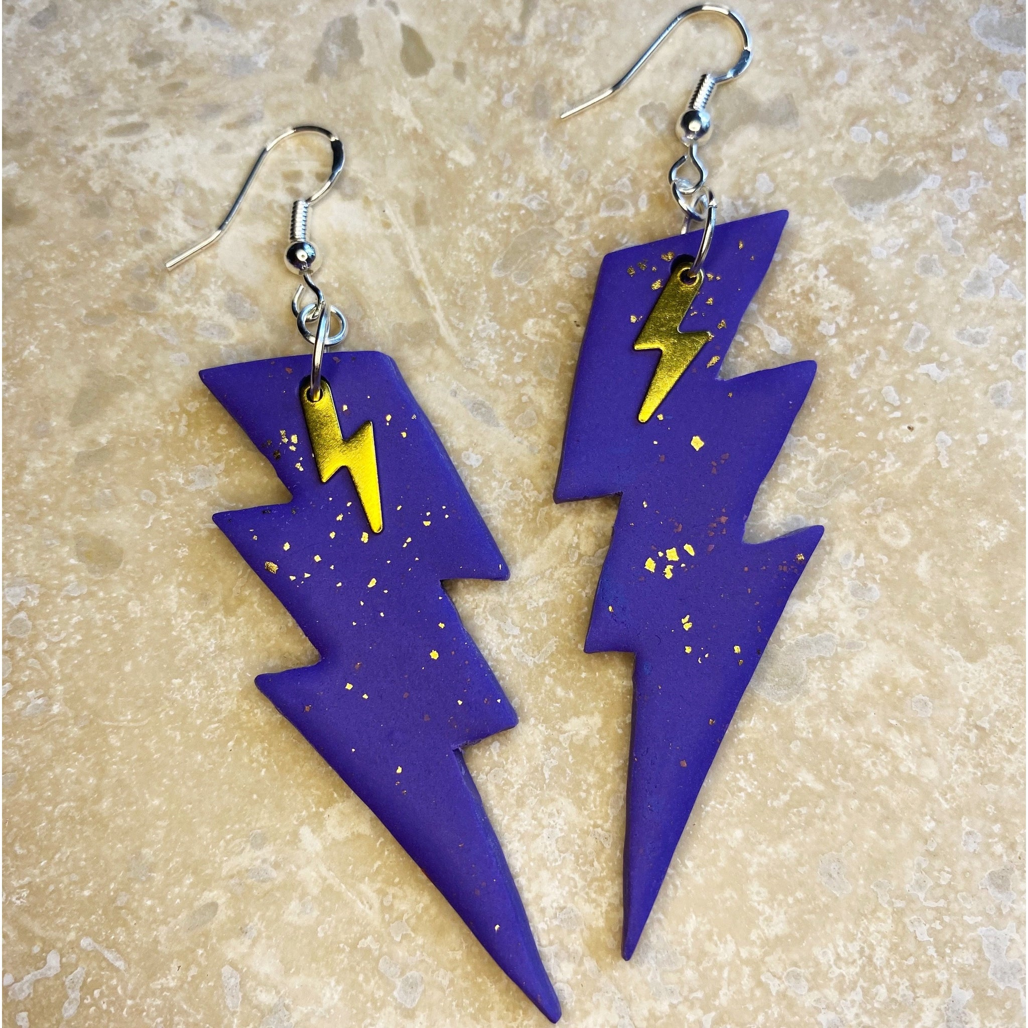Hairy Yeti Lightening Bolt Earrings