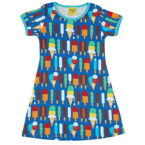 Duns Blue Ice Cream Short Sleeve A Line Dress (kids)