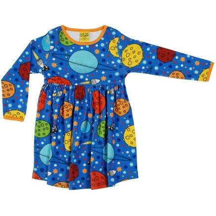 DUNS Sweden Blue Space Long Sleeve Twirly Dress (kids)