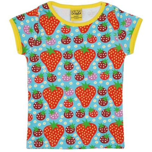DUNS Sweden Turquoise Strawberry Field Short Sleeve T Shirt