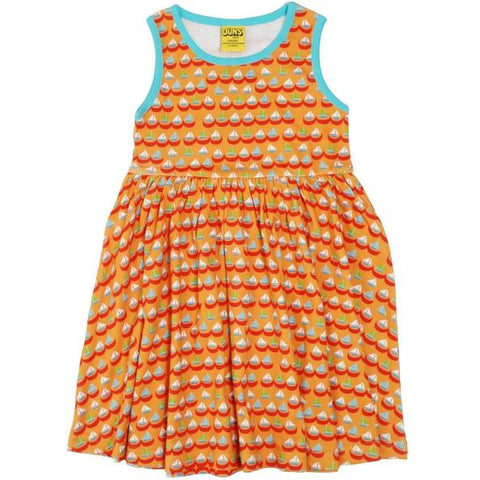 DUNS Sweden Orange Sailing Boats Sleeveless Twirly Dress (kids)
