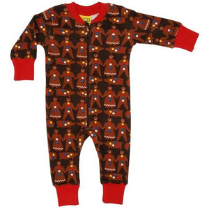 DUNS Dark Brown Gingerbread Men Zip Suit
