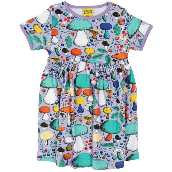 DUNS Mushroom Forest Violet Short Sleeve Twirly Dress (adults)
