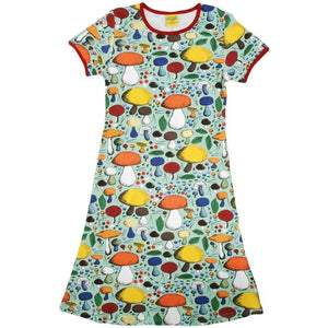 DUNS Mushroom Forest Jade Short Sleeve A Line Dress