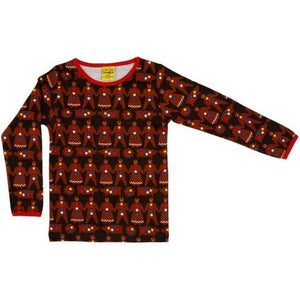 DUNS Dark Brown Gingerbread Men Long Sleeve Top (adults)