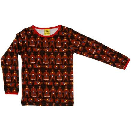 DUNS Dark Brown Gingerbread Men Long Sleeve Top