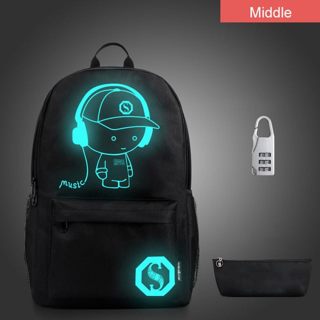 Anime Luminous Backpack Child School Bags