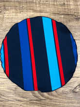Load image into Gallery viewer, Hues of Blue & Red Stripe pocket-round  w/ Navy trim
