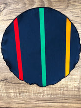 Load image into Gallery viewer, Gold | Blue | Red | Green pocket-round w/ Navy trim