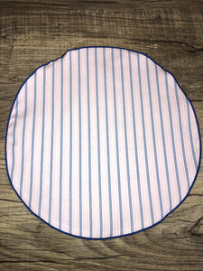 Pink | Blue Striped Yacht Edition pocket-round w/ Royal Blue trim