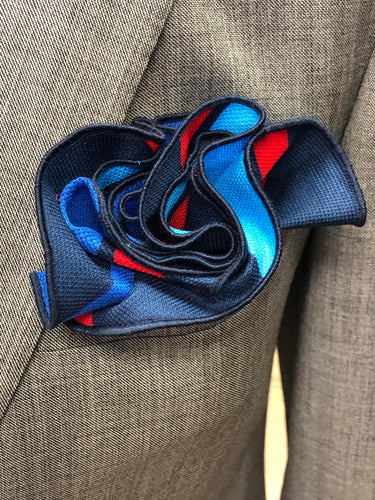 Hues of Blue & Red Stripe pocket-round  w/ Navy trim