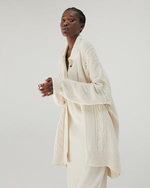 Cable Knit Cardigan in Natural