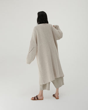 Long Chunky Cardigan in Taupe