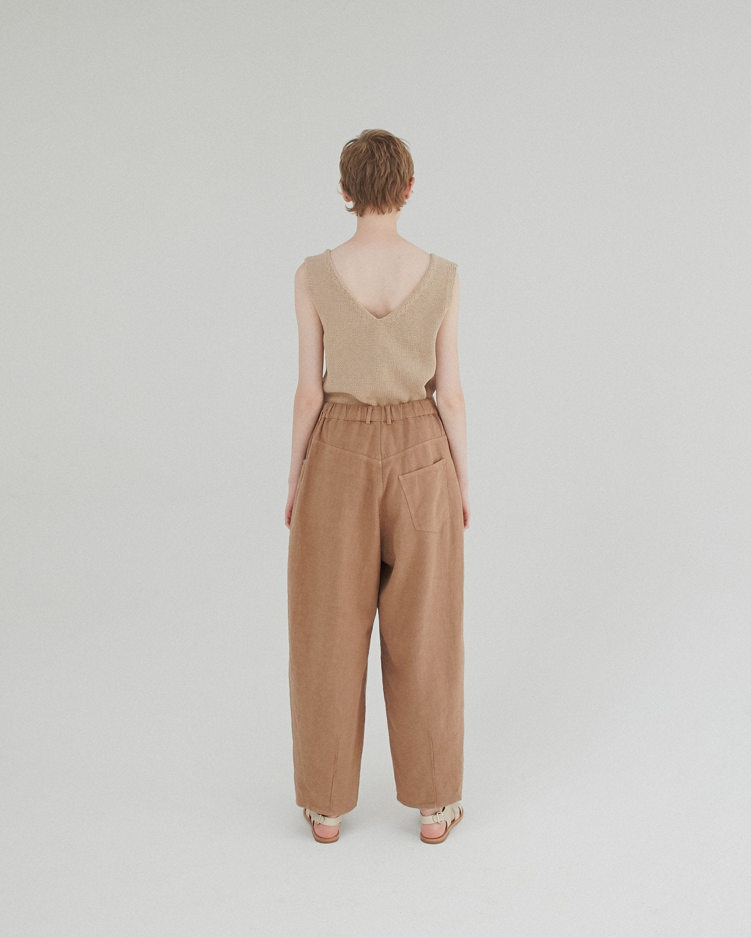 Ramie Crossed Trousers in Clay Pot
