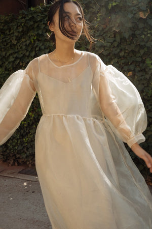 Jayme Dress in Oatmeal Organza