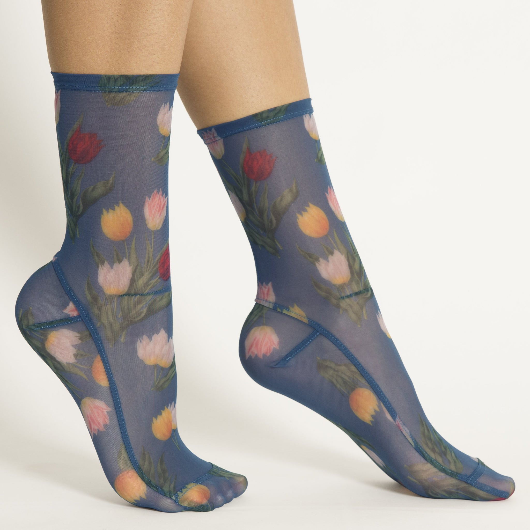 Blue Tulips Floral Mesh Socks