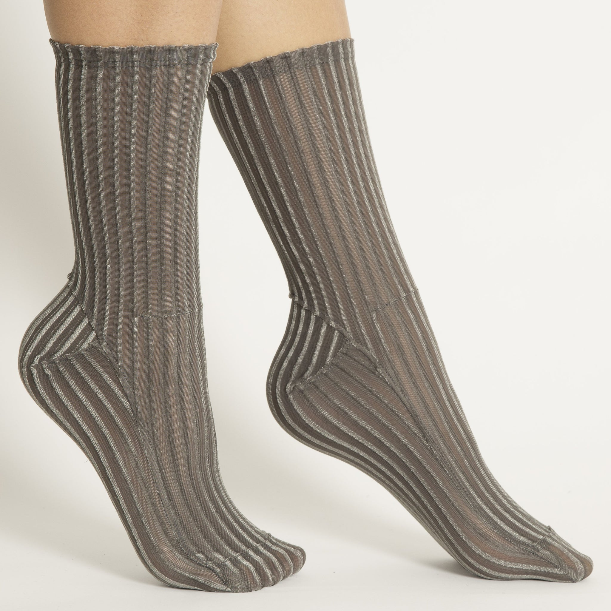 Gray Ribbed Velvet Socks