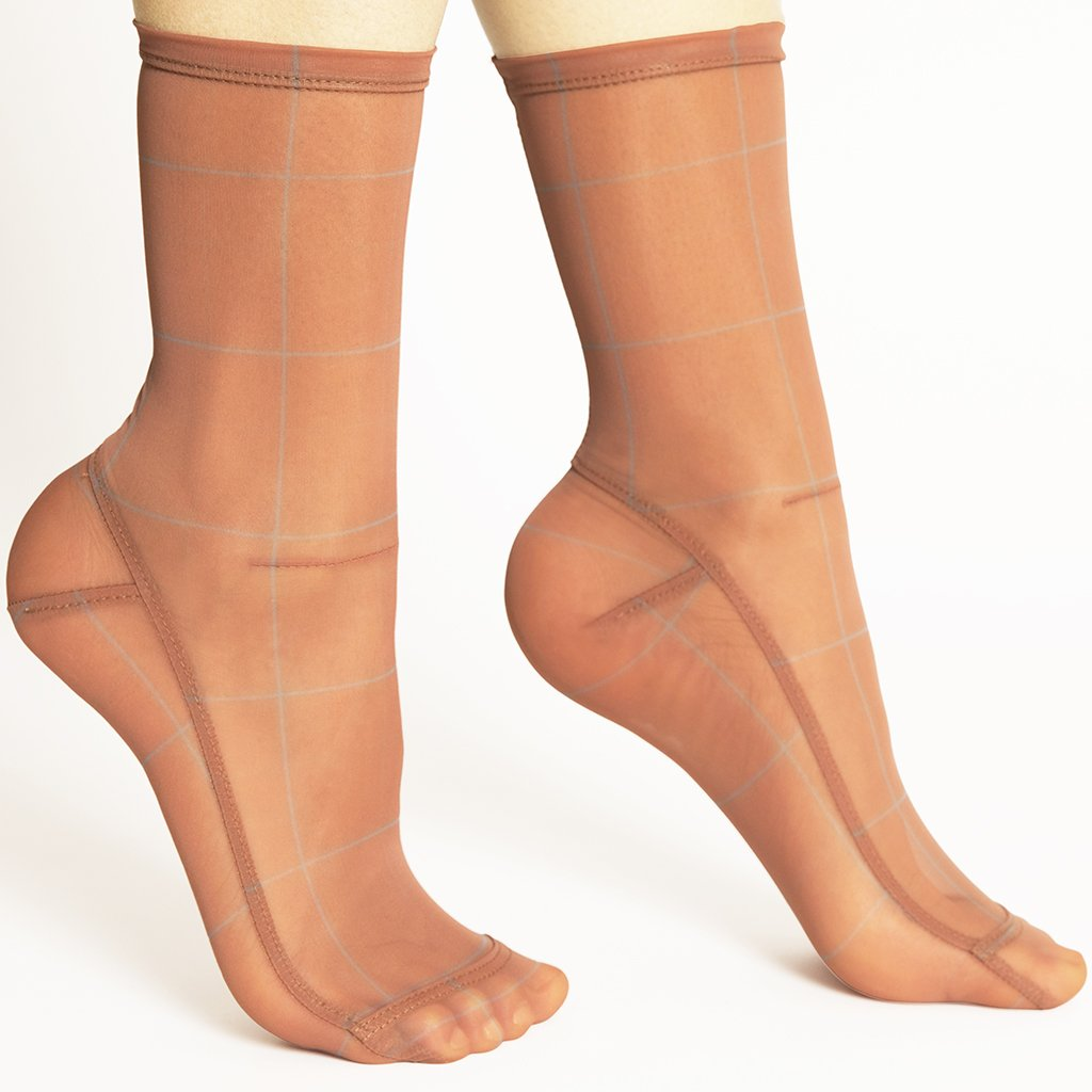 Powder Blue & Caramel Plaid Mesh Socks