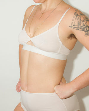 Cut Out Bra in Thin Strap in Pearl