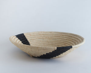 Striped Black Large Raffia Basket