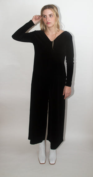 Velvet V-Neck Jumpsuit
