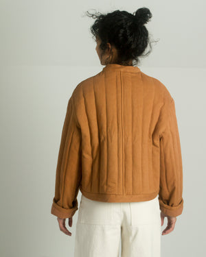 Kordal Cropped Quilted Jacket in Clay