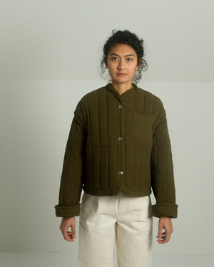 Kordal Cropped Quilted Jacket in Olive