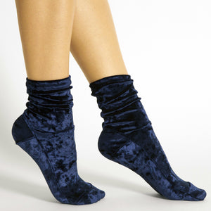 Midnight Blue Crushed Velvet Socks