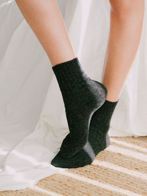 Speckled Wool Socks in Charcoal