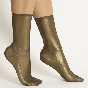 Dark Gold Foil Mesh Socks