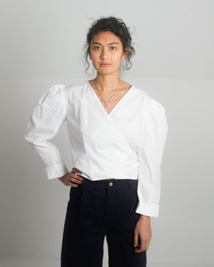 Arno Top in White Poplin