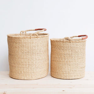 Ghanaian Bolga Laundry Basket with Leather Handles