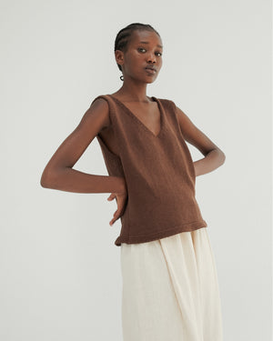 Relaxed Knit Top in Brown