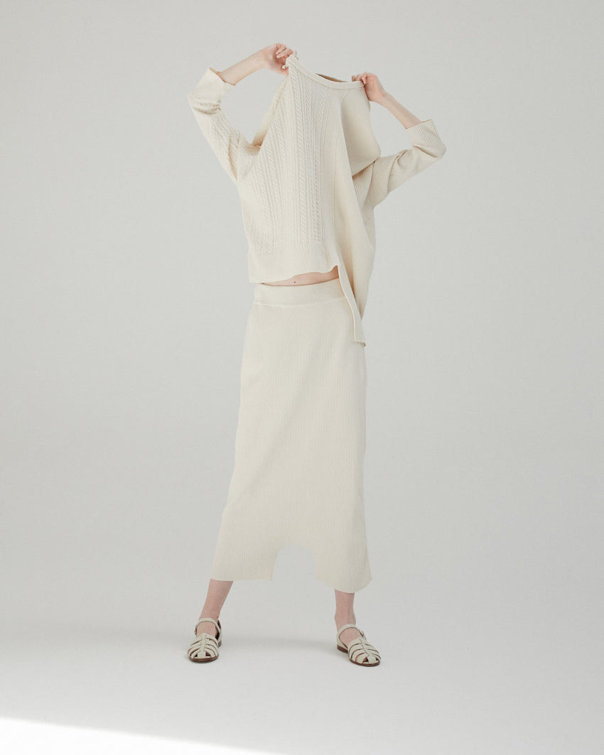 Ribbed Knit Pant in Natural